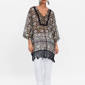 Zara Floral CAFTAN METALLIC THREAD Top XS-S 161/mq